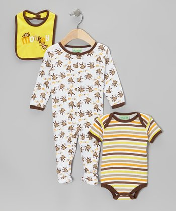 Brown 'Monkey' Footie Set - Infant