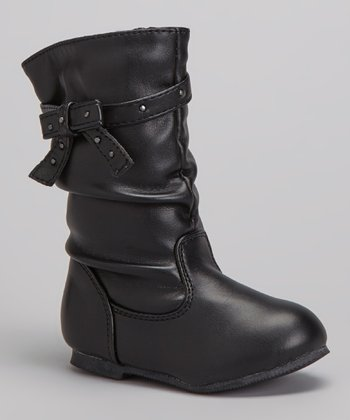 Black Studded-Bow Slouch Boot