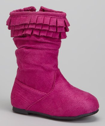 Berry Triple-Ruffle Boot