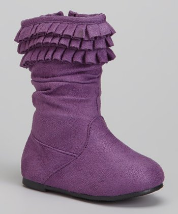 Purple Triple-Ruffle Boot