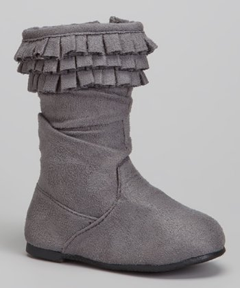 Gray Triple-Ruffle Boot