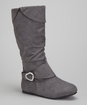 Gray Heart-Buckle Fold-Over Boot