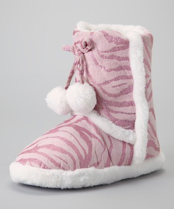 Pink Glitter Zebra Slipper Boot