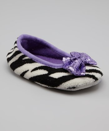 Purple Zebra Ballet Flat Slipper