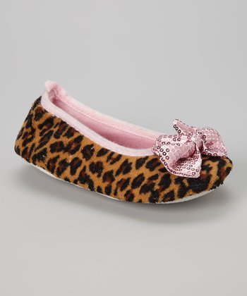 Light Pink Leopard Ballet Flat Slipper