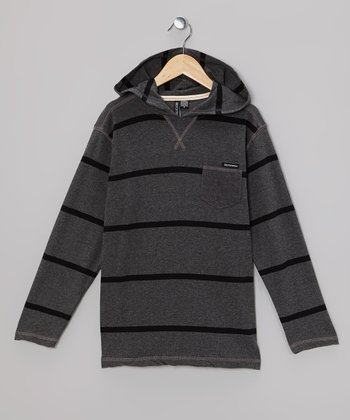 Charcoal Gray & Black Stripe Hooded Tee - Boys