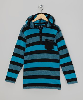 Blue & Black Stripe Hooded Henley - Boys