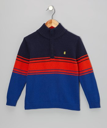 Blue & Orange Stripe Pullover - Toddler & Boys