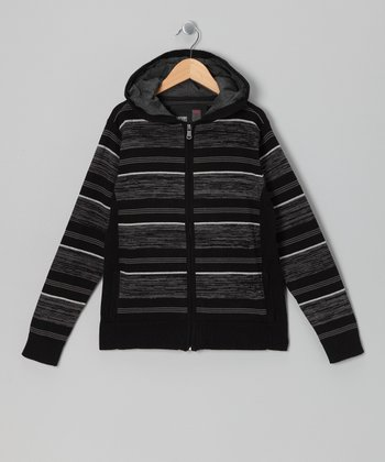 Black Stripe Zip-Up Hoodie - Boys