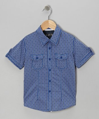 Blue Bamboo Print Button-Up