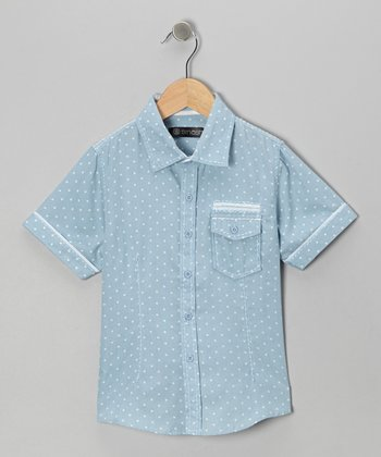 Blue Polka Dot Button-Up - Boys