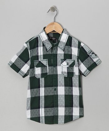 Green Buffalo Check Button-Up