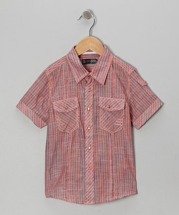 Orange Stripe Button-Up