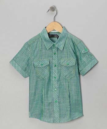 Green Stripe Button-Up