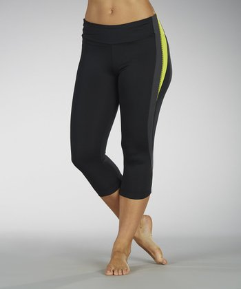 Lemon & Charcoal Pieced Capri Leggings