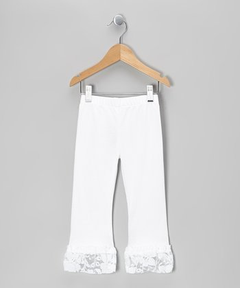 White Lace Flutter Leg Pants - Infant, Toddler & Girls
