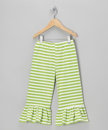 Green Stripe Ruffle Capri Pants - Infant, Toddler & Girls