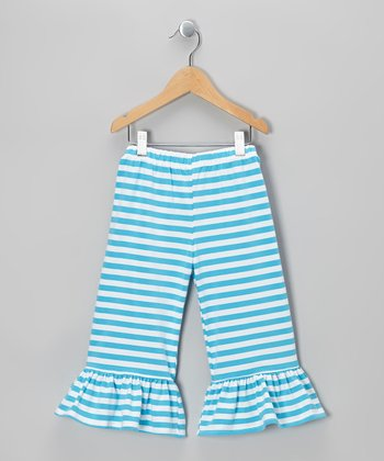 Blue Stripe Ruffle Capri Pants - Infant, Toddler & Girls