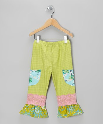 Green Check Ruffle Pants - Infant, Toddler & Girls