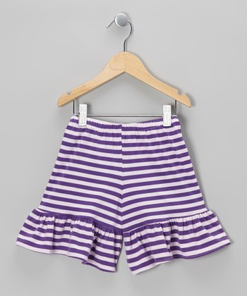 Purple Stripe Ruffle Shorts - Toddler & Girls