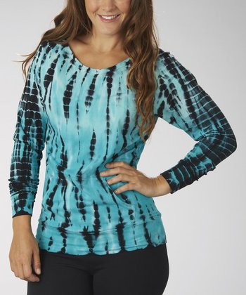Cerulean Raglan Off-Shoulder Tee