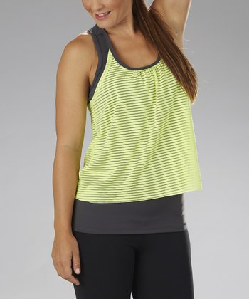Carbon & Lime Stripe Layered Tank