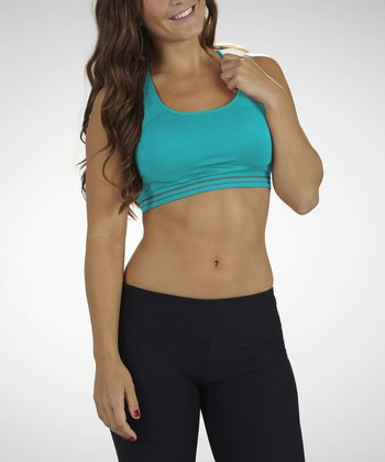 Cerulean Medium Impact Seamless Sport Bra - Women