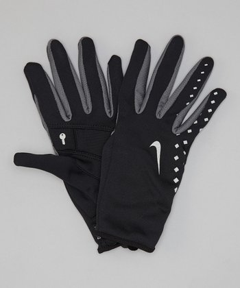 Black & Gray Lightweight Run Glove - Women