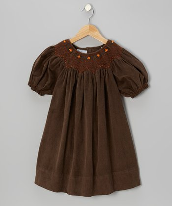 Brown Color of Autumn Corduroy Bishop Dress - Infant, Toddler & Girls