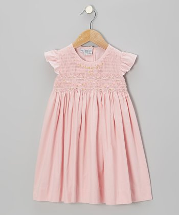 Pink Charming Girl Angel-Sleeve Dress - Infant, Toddler & Girls