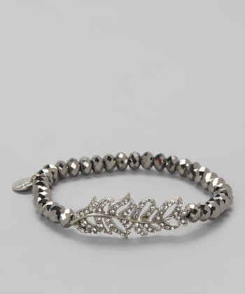 Silver Jeweled Feather Stretch Bracelet