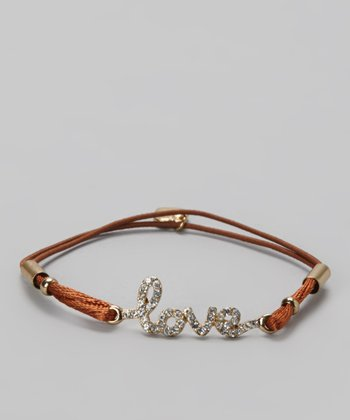 Gold & Brown Crystal 'Love' Bracelet
