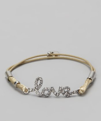 Gold & Beige Crystal 'Love' Bracelet
