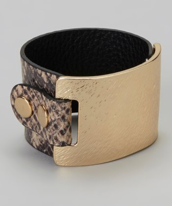 Gold & Gray Leather Snakeskin Metal Bracelet