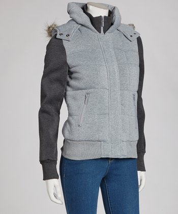 Heather Gray & Charcoal Hooded Jacket