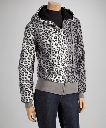 Gray Leopard Fleece Coat