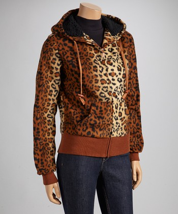 Brown Leopard Fleece Coat