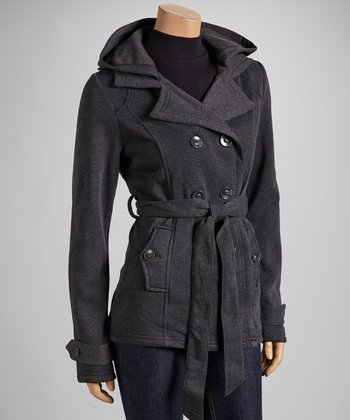 Charcoal Fleece Notch-Collar Coat