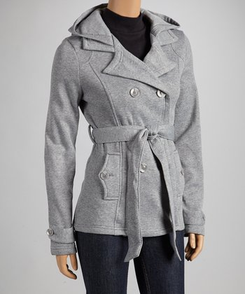 Heather Gray Fleece Notch-Collar Coat