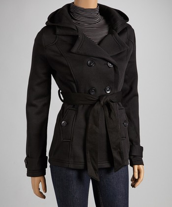 Black Fleece Notch-Collar Coat