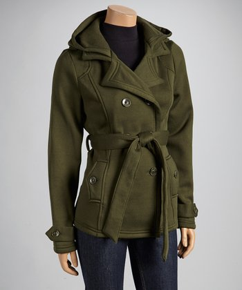 Olive Fleece Notch-Collar Coat