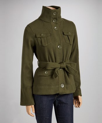 Olive Tie-Waist Fleece Coat