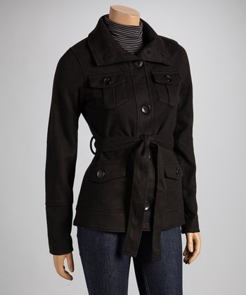 Black Tie-Waist Fleece Coat