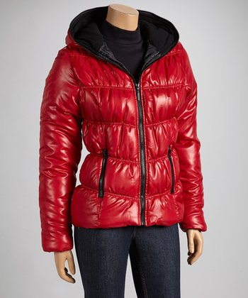 Red & Black Hooded Puffer Coat