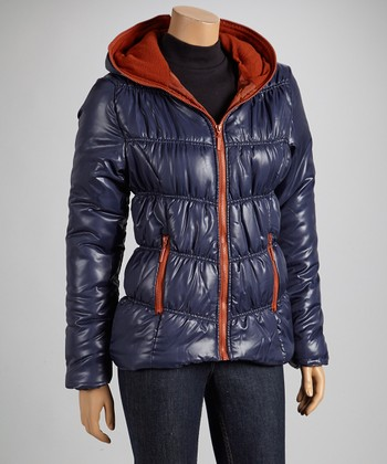 Navy & Rust Hooded Puffer Coat