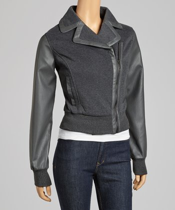 Charcoal Asymmetrical Zipper Bomber Jacket
