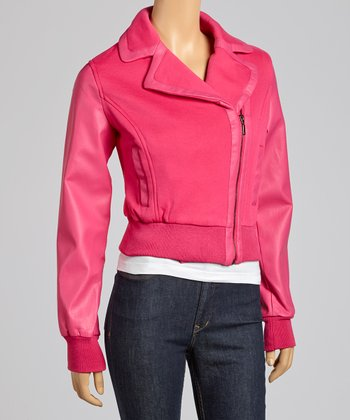 Fuchsia Asymmetrical Zipper Bomber Jacket