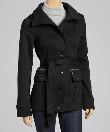 Black Belted Funnel Collar Coat