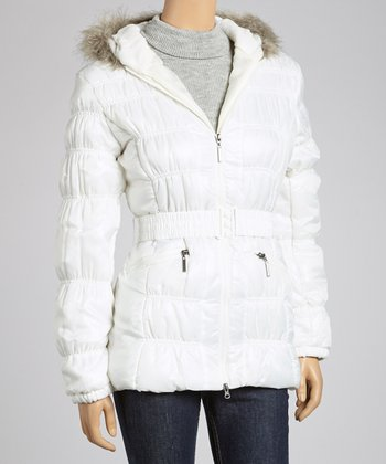 White Faux Fur Puffer Jacket