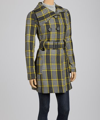 Charcoal & Yellow Plaid Peacoat